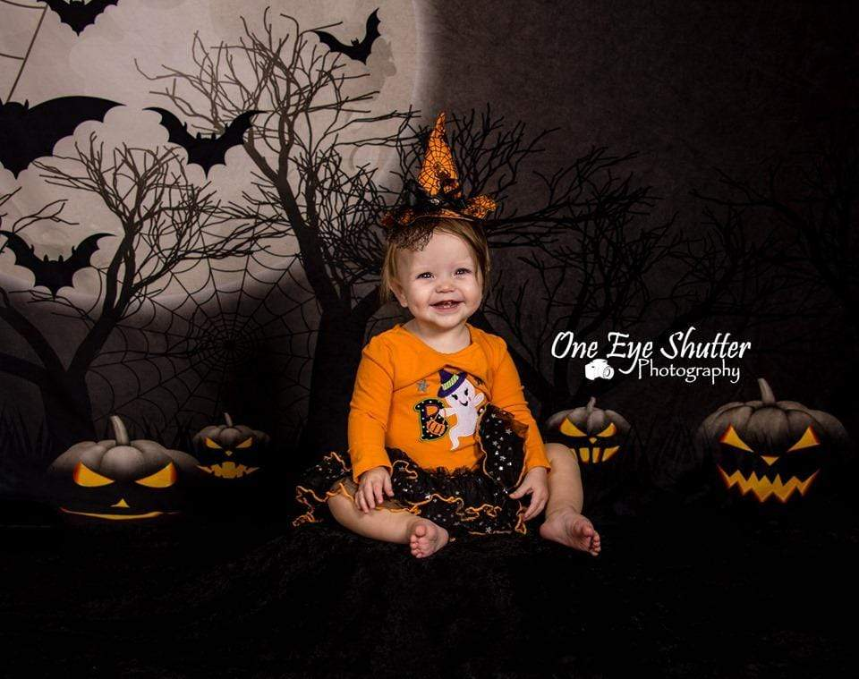 Kate Halloween Moon Gloomy Woods with Bats And Pumpkin Backdrop for Photography