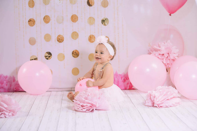 Kate Cake Smash with Balloons Pink Birthday Backdrop Designed By Jessica Evangeline photography