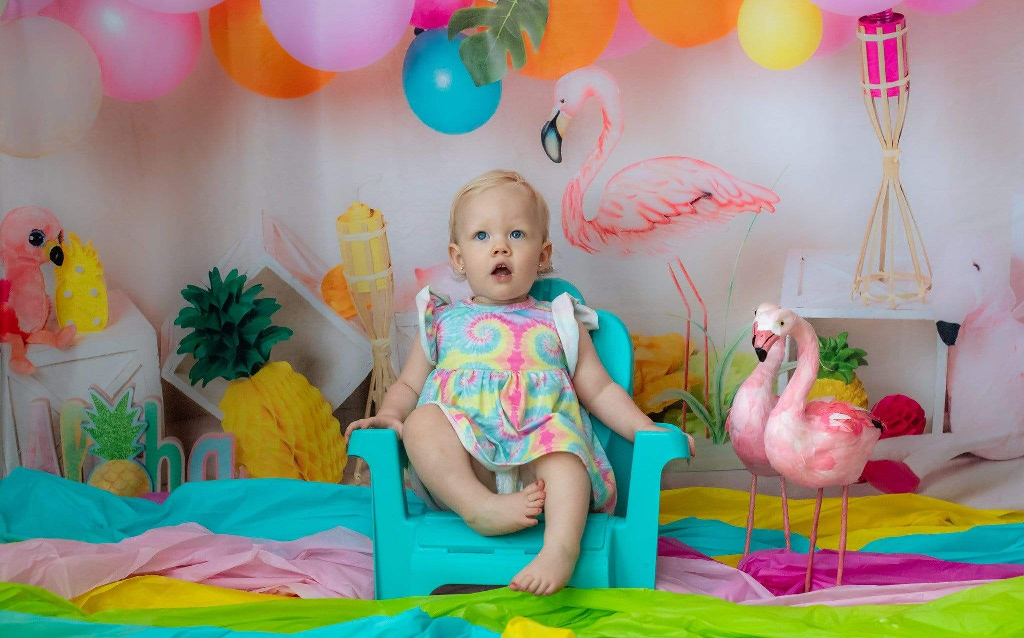 Load image into Gallery viewer, Kate Flamingo Party Children Balloons Backdrop for Photography Designed by  Laura Lee Photography