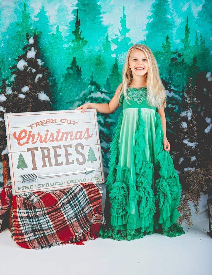 Load image into Gallery viewer, Kate Christmas Green Pine Trees Snow Farm Backdrop Designed By Jerry_Sina
