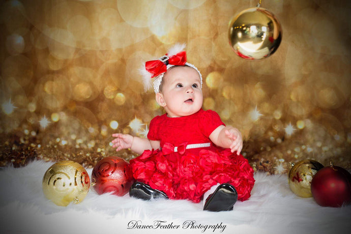 Kate Light Golden Bokeh Glitter Backdrop for Children