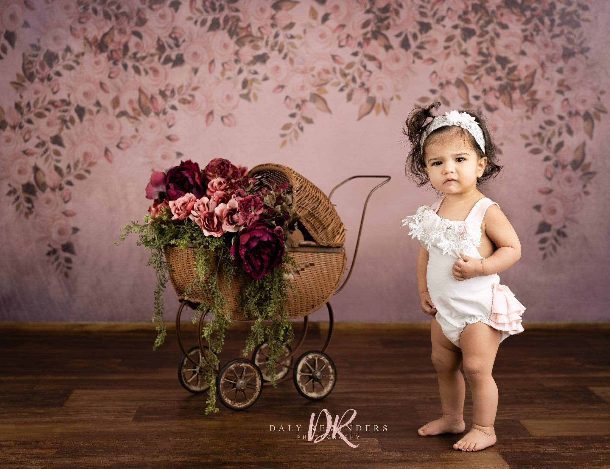 Load image into Gallery viewer, Kate Fine Art Floral Dark Pink Backdrop Designed By Jerry_Sina