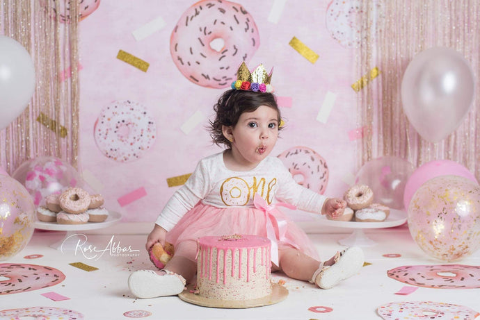 Kate Children Pink Balloons Donuts Decoration Backdrop Designed By Rose Abbas