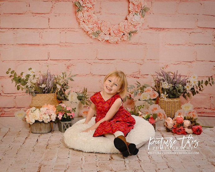Kate Pink Brick Wall Spring Floral Backdrop Designed by Jia Chan Photography