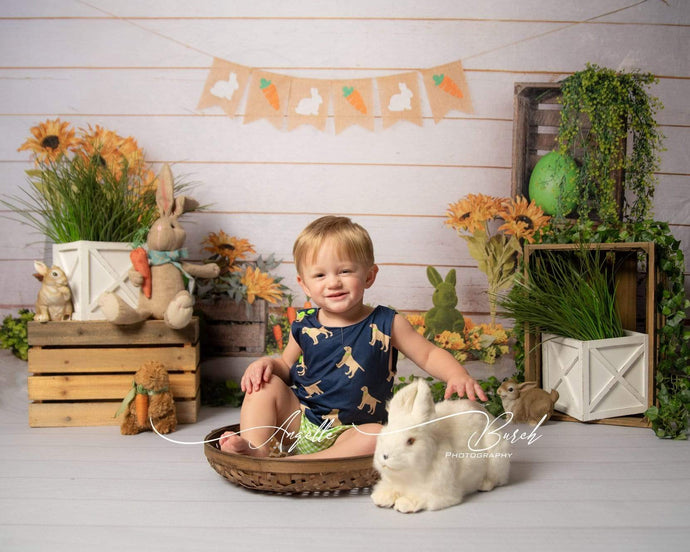 Kate Wooden Sunflower Rabbit Spring/Easter Backdrop for Photography Designed by Jia Chan Photography