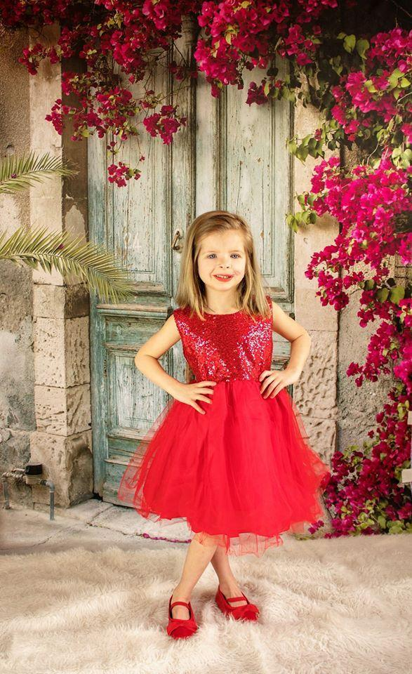 Load image into Gallery viewer, Kate Blue Door Red Floral Scenery Concrete Backdrops