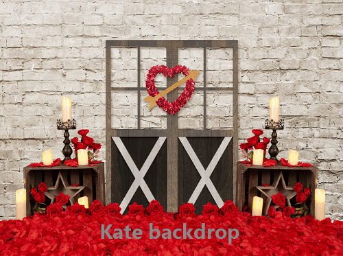 Kate Valentine's Day Heart Barn Door Backdrop Designed By Jerry_Sina