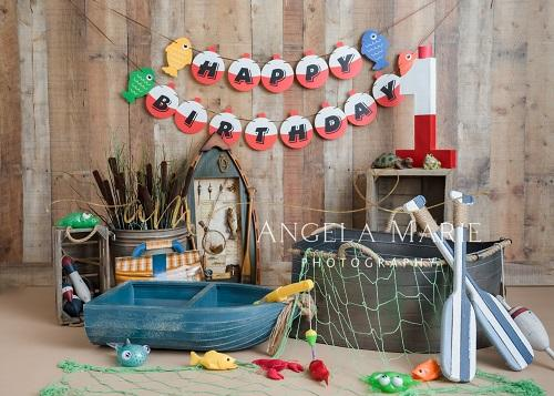 Kate Cake Smash Backdrop Fishing Fun Designed By Angela Marie Photography