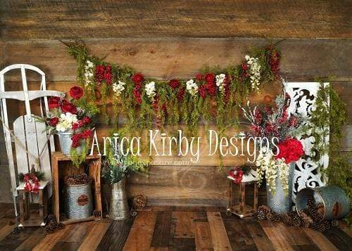 Load image into Gallery viewer, Kate Christmas Floral Rustic Backdrop Designed By Arica Kirby