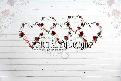 Kate Floral Heart Valentine Backdrop Designed By Arica Kirby