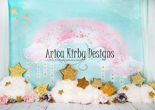 Kate Pink Rainbow with Stars and Clouds Birthday Backdrop Designed By Arica Kirby