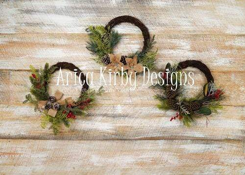 Kate White Washed Wall Christmas Wreath Backdrop Designed By Arica Kirby