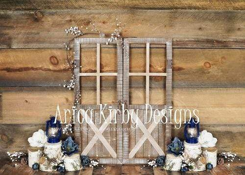 Kate Blue Floral Doors Wood Spring\Easter Backdrop Designed By Arica Kirby