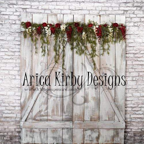Kate Rustic Doors Red Floral Spring Backdrop Designed by Arica Kirby