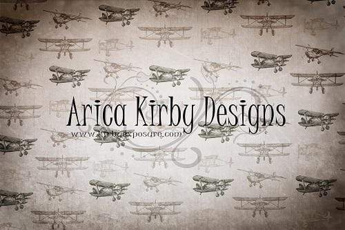 Kate Vintage Planes Brown Tone Children Backdrop Designed By Arica Kirby
