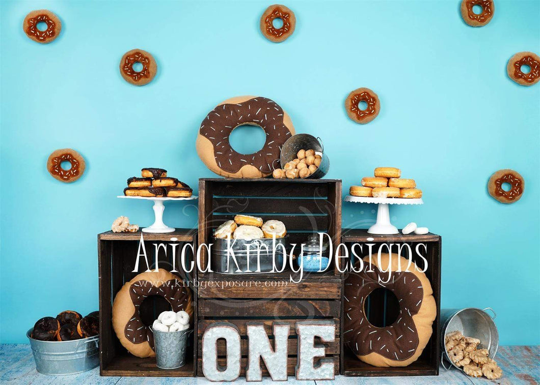 Kate 1st Birthday Blue Donut ONE Backdrops Designed by Arica Kirby