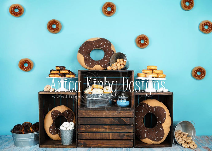 Kate  Birthday Blue Donut Backdrops Designed by Arica Kirby