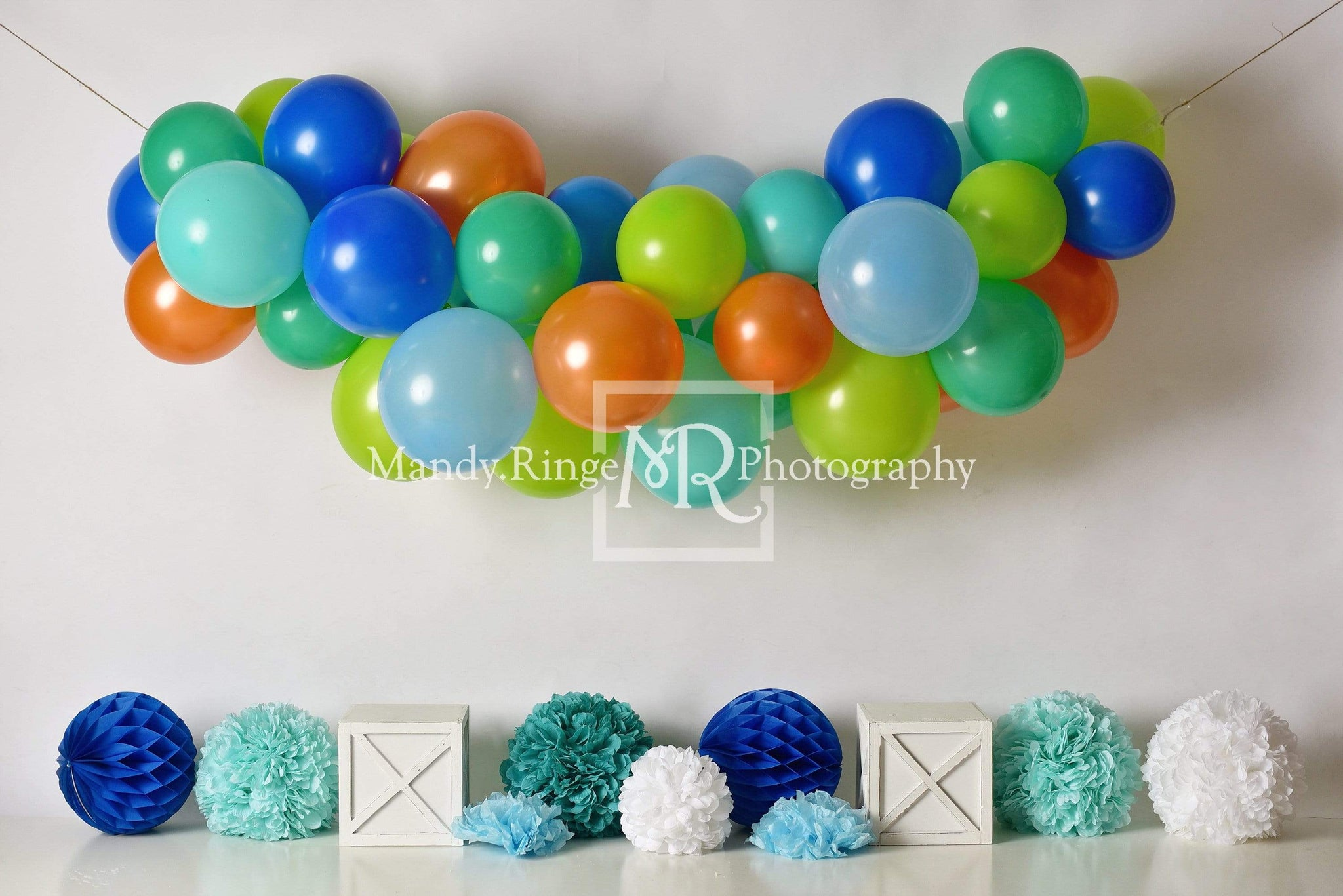 Load image into Gallery viewer, Kate Blue Orange Green Birthday Balloons Backdrop for Photography Designed By Mandy Ringe Photography