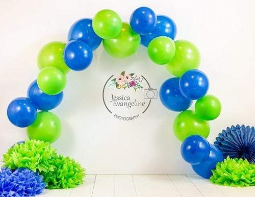 Kate Cake Smash with Blue Balloons for Boy Backdrop Designed By Jessica Evangeline photography