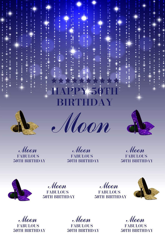 Katebackdrop£ºKate 50th Birthday Party shiny Blue and White Backdrop with Purple and Golden high-heeled shoes Step and Repeat