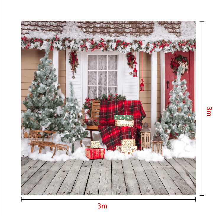 Load image into Gallery viewer, Kate Snow Outside House With Christmas Trees And Gifts for Photography