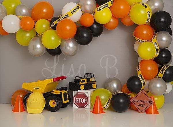 Load image into Gallery viewer, Kate Construction Birthday Balloon Backdrop for Photography Designed by Lisa B