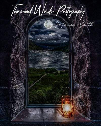 Kate Castle Window View with Lantern Backdrop Designed by Marina Smith
