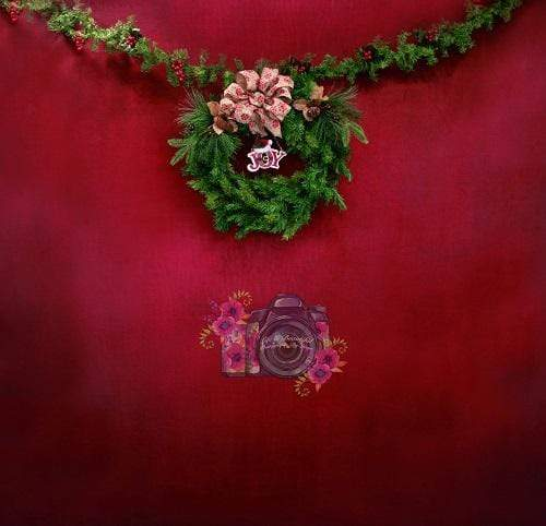 Kate Christmas Wreath Dark Red Backdrop Designed By Leann West