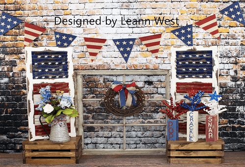 Kate Retro Brick with Window Decorations Independence Day Backdrop for Photography Designed by Leann West