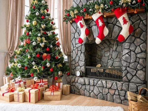 Load image into Gallery viewer, Katebackdrop£ºKate Christmas Backdrop sock fireplace home decoration