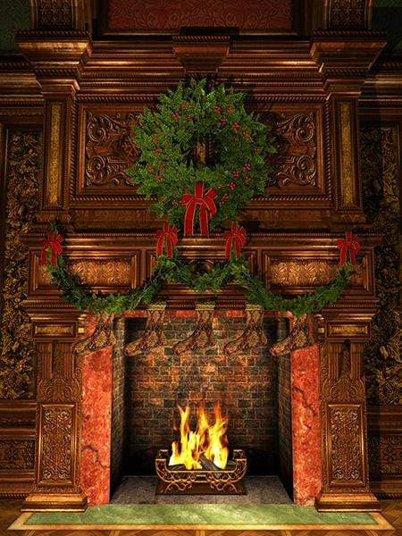 Load image into Gallery viewer, Katebackdrop£ºKate Christmas Fireplace Stockings Backdrop Photography