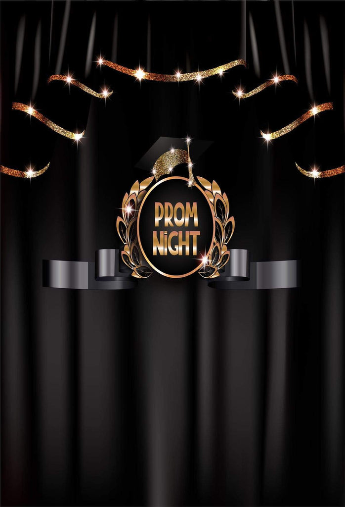 Kate Prom Night Graduation Backdrop Black Curtain Background for School