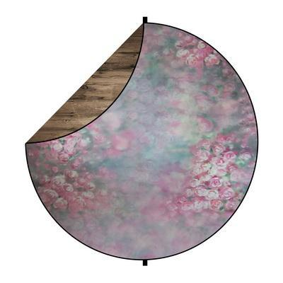 Kate Brown Wood/Pink Flowers Round Collapsible Backdrop Photography 5X5ft(1.5x1.5m)