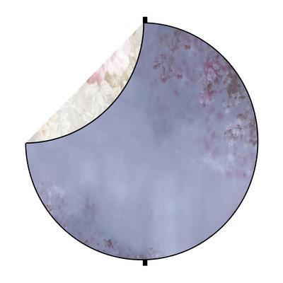 Kate Purple/White Flowers Round Mixed Collapsible Backdrop for Baby Photography 5X5ft(1.5x1.5m)