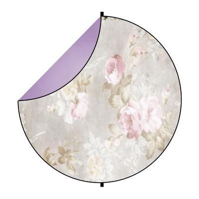 Kate Purple Abstract/White Flowers Round Mixed Collapsible Backdrop for Baby Photography 5X5ft(1.5x1.5m)