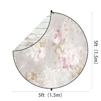 Load image into Gallery viewer, Kate White Wood/Flowers Round Mixed Collapsible Backdrop for Baby Photography 5X5ft(1.5x1.5m)