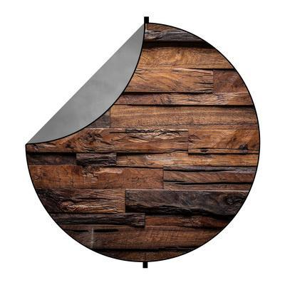 Kate Gray Abstract/Abstract Wood Mixed Round Collapsible Backdrop for Baby Photography 5X5ft(1.5x1.5m)