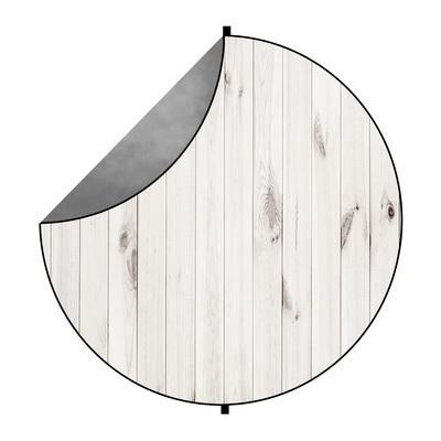 Kate Gray Abstract/White Wood Mixed Round Collapsible Backdrop for Baby Photography 5X5ft(1.5x1.5m)