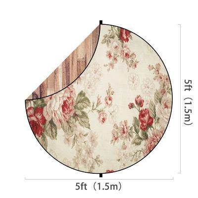 Load image into Gallery viewer, Kate Brown Wood/Red Flowers Round Mixed Collapsible Backdrop for Baby Photography 5X5ft(1.5x1.5m)