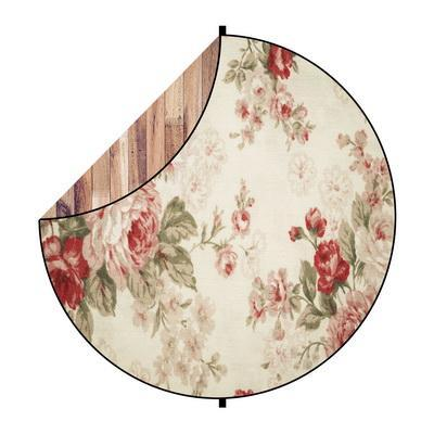Kate Brown Wood/Red Flowers Round Mixed Collapsible Backdrop for Baby Photography 5X5ft(1.5x1.5m)