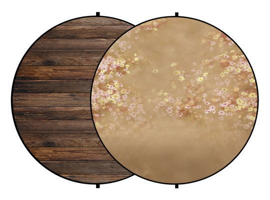 Load image into Gallery viewer, Kate Brown Wood/Orange Flowers Round Mixed Collapsible Backdrop for Baby Photography 5X5ft(1.5x1.5m)