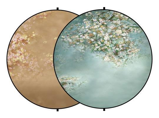 Load image into Gallery viewer, Kate Blue/Orange Flowers Round Mixed Collapsible Backdrop for Baby Photography 5X5ft(1.5x1.5m)