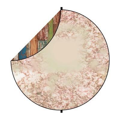 Kate Colerful Wood/Pink Flowers Mixed Round Collapsible Backdrop for Baby Photography 5X5ft(1.5x1.5m)
