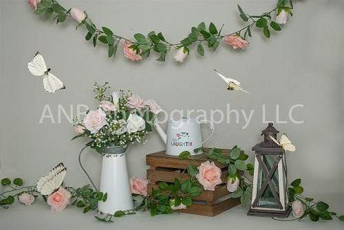 Kate Pink Flowers Decoration with Butterflies Backdrop for Photography Designed By Alisha Byrem