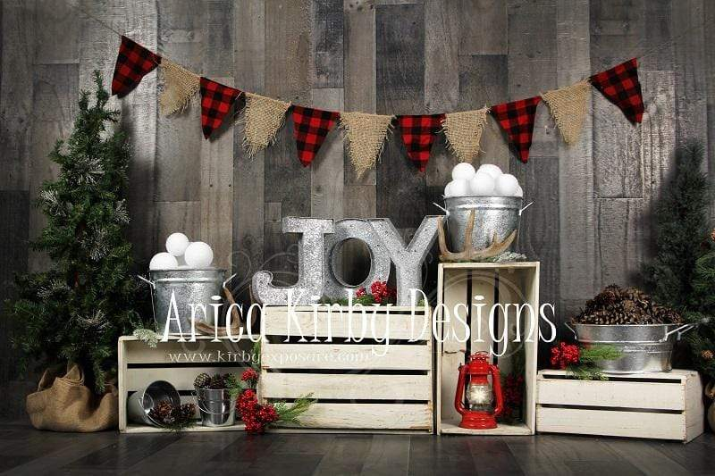 Load image into Gallery viewer, Kate Dreaming of a Plaid Christmas Backdrop designed by Arica Kirby