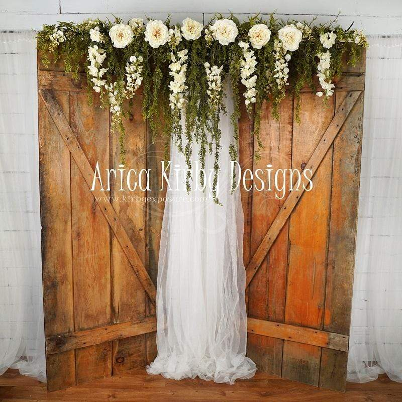 Load image into Gallery viewer, Kate Enchanted Cottage Spring Floral Doors Backdrop designed by Arica Kirby