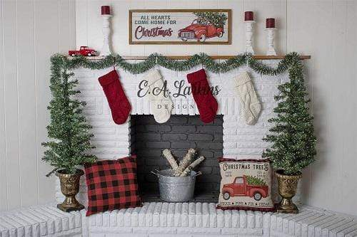 Kate Plaid & Trucks Christmas Fireplace Backdrop Designed By Erin Larkins