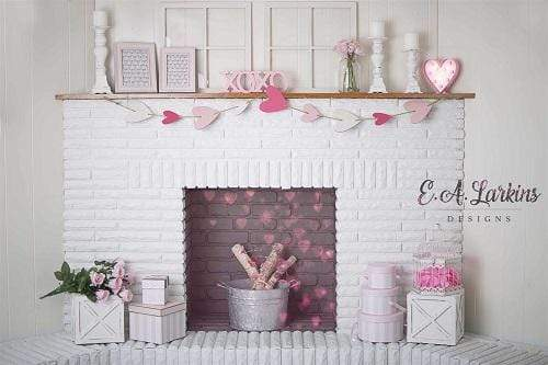 Kate Valentines Fireplace Hearts Backdrop Designed By Erin Larkins