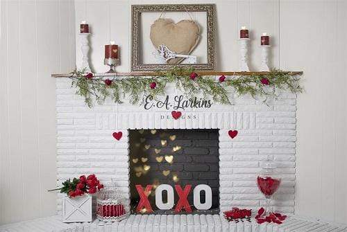 Kate Valentines Fireplace Love Rose Backdrop Designed By Erin Larkins