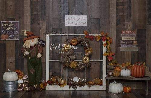 Kate Autumn Thanksgiving Pumpkins Decorations Wooden Backdrop Designed By Erin Larkins